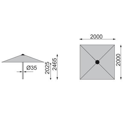 KETTLER Schirm Easy-Push 150x210 cm silber/anthrazit