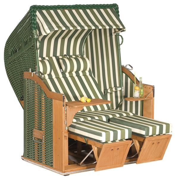 """Gartenstrandkorb """"Classic"""" 2-Sitzer, Halbliegemodell Kunststoffgeflecht grün mit beigen Nadelstreif"""