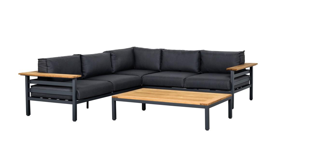 Lounge Set Lino Alu/Holz inkl. Auflagen