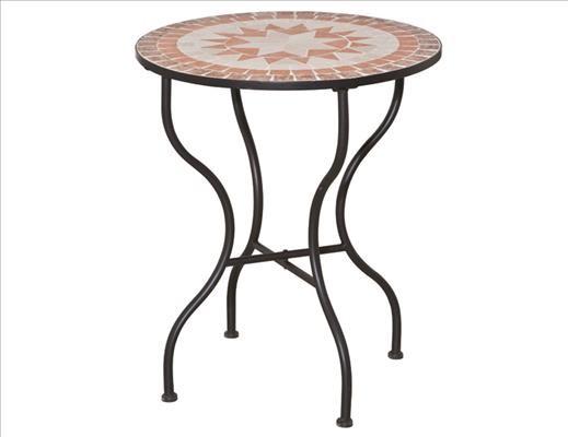 SIENA GARDEN Finca Tisch 70cm rd. sw Gest.:Eisen/Mosaik-Optik
