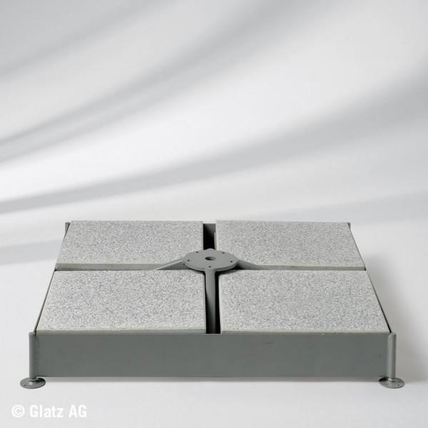 Glatz Schirmsockel M4 für 12 Platten - grau 91x91x15 cm - ohne Platten - ohne Standrohr
