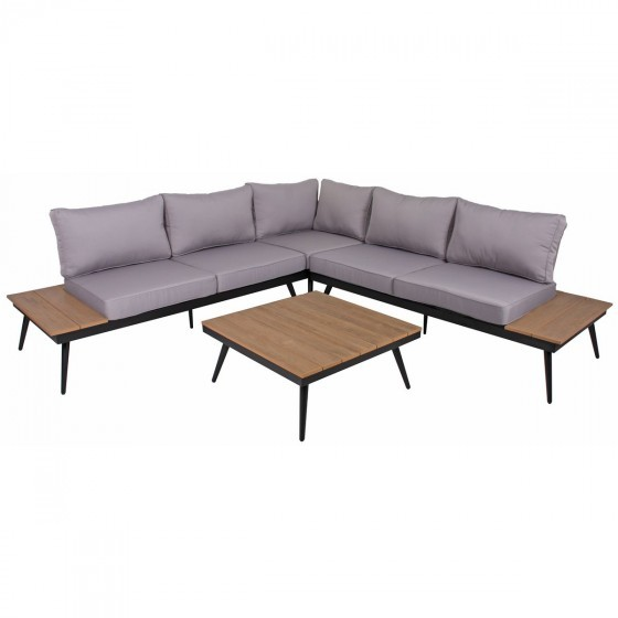lounge set rifo aluminium pulverbeschichtet schwarz. Black Bedroom Furniture Sets. Home Design Ideas