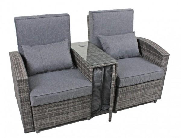 Doppelsessel Set Norwich Grau Polyrattan Sofabänke