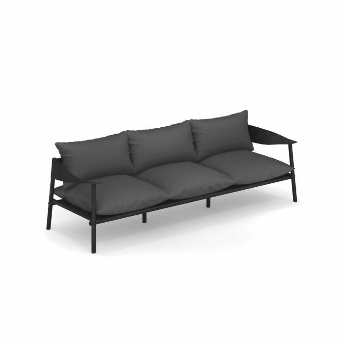 emu Sofa 3-Sitzer Terramare Schwarz/Schwarz Kissen Schwarz günstig online kaufen