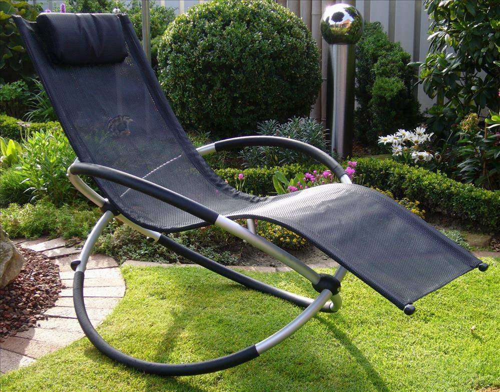 schaukelstuhl schwarz gartenliegen aluminium alu m bel. Black Bedroom Furniture Sets. Home Design Ideas